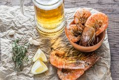 Fried shrimps with glass of beer Royalty Free Stock Image