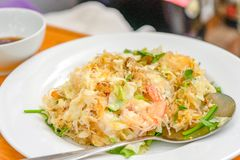 Fried shrimps with glass noodles, traditional Thai food. Fried shrimps with glass  noodles, traditional Thai food stock photo