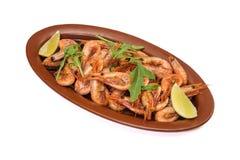 Fried Shrimps op witte achtergrond wordt geïsoleerd die stock afbeeldingen