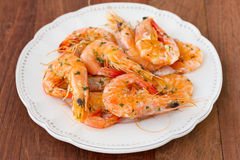 Fried shrimps on plate Stock Photo