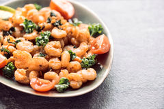 Fried shrimps in plate Royalty Free Stock Photography