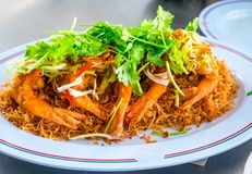 Fried shrimps or prawns with spicy sauce thai food style. Royalty Free Stock Photography