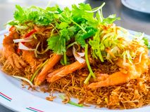 Fried shrimps or prawns with spicy sauce thai food style. Royalty Free Stock Photos