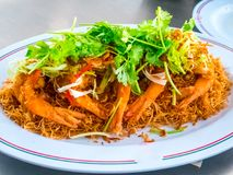Fried shrimps or prawns with spicy sauce thai food style. Stock Image