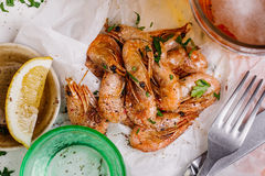 Fried shrimps. Snack to beer and wine. Serve cooked shrimp and l Stock Images