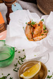 Fried shrimps. Snack to beer and wine. Serve cooked shrimp and l Royalty Free Stock Images
