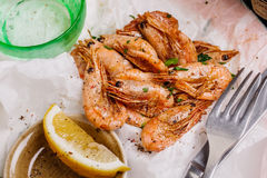 Fried shrimps. Snack to beer and wine. Serve cooked shrimp and l Royalty Free Stock Photography