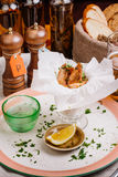 Fried shrimps. Snack to beer and wine. Serve cooked shrimp and l Royalty Free Stock Photos