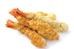 Fried shrimps tempura. Ebi tempura - fried shrimps japanese style on white background Royalty Free Stock Image