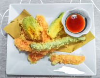 Fried shrimps tempura Royalty Free Stock Images
