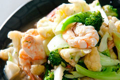 Fried Shrimps with Vegetable. For lunch Royalty Free Stock Photos