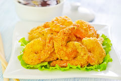 Fried shrimps Stock Photos