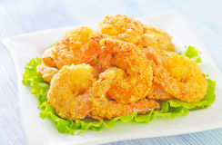 Fried shrimps Stock Photography