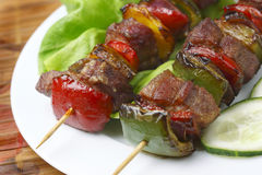 Fried skewers. Stock Photos