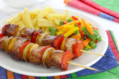 Fried skewers Stock Photos