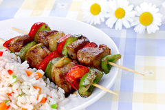 Fried skewers with rice Royalty Free Stock Photo
