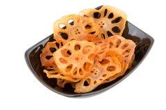 Fried skivade lotusblomma rotar royaltyfri fotografi