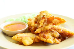 Fried  slough crab with starch and chili syrup Royalty Free Stock Photo