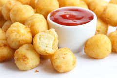 Fried small potato balls on white. Royalty Free Stock Images