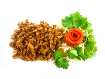Fried Small Shrimp with spices. Has vegetable salad be a side dish  - soft focus Stock Images