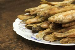 Fried smelt on a plate. Fried fish smelt on a plate Stock Image