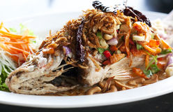 Fried snapper with chili sauce Royalty Free Stock Photo