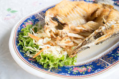 Fried Snapper with Fish Sauce Royalty Free Stock Photo
