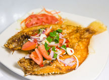 Fried Snapper With Chili Sauce Stock Image