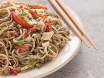 Fried Soba Noodles with Pork and Cabbage Stock Photo