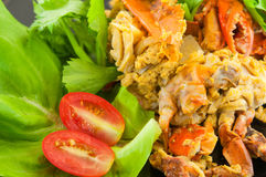 Fried Soft Crab mescolato con aglio, pepe, curry Immagini Stock Libere da Diritti