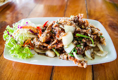 Fried soft shell crab with black pepper Royalty Free Stock Images