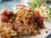 Fried Soft Shell Crab with Garlic Stock Photo