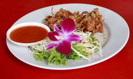 The Fried soft shell crab with garlic Royalty Free Stock Photo