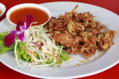 The Fried soft shell crab with garlic Royalty Free Stock Image