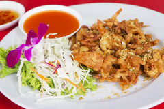 The Fried soft shell crab with garlic Stock Images