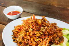 The Fried soft shell crab with garlic Royalty Free Stock Images