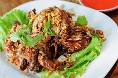 The Fried soft shell crab with garlic. Royalty Free Stock Photo