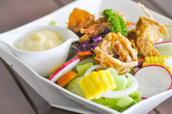 Fried Soft-Shell Crab  salad Stock Image
