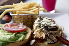 Fried soft shell crab sandwich is colorful and delicious Royalty Free Stock Photography