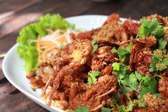 Fried Soft Shell Crab. On white dish stock photos