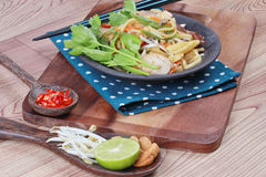 Fried sour sweet  Chinese noodle with tofu with side dish are Thai organic food. Stock Photos