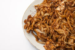 Fried spaghetti with chicken meat Stock Image