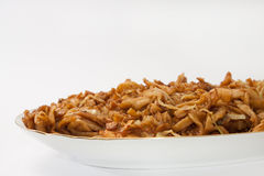 Fried spaghetti with chicken meat Royalty Free Stock Photography