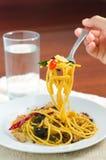 Fried spaghetti with chili with shellfish Stock Photo