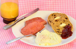 Fried Spam Breakfast Arkivfoto
