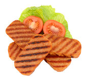 Fried Spam Pork Luncheon Meat en Salade Royalty-vrije Stock Afbeeldingen