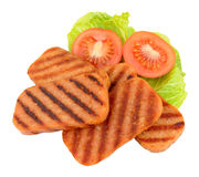 Fried Spam Pork Luncheon Meat et salade Images stock