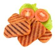 Fried Spam Pork Luncheon Meat und Salat Stockbilder