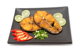 Fried Spanish mackerel display on dish Royalty Free Stock Image