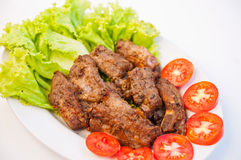 Fried spare ribs. Fried spare rips on white background Royalty Free Stock Image